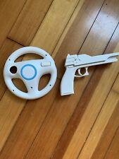 Mario Kart Racing Steering Wheel And Gun for Nintendo Wii  - Used