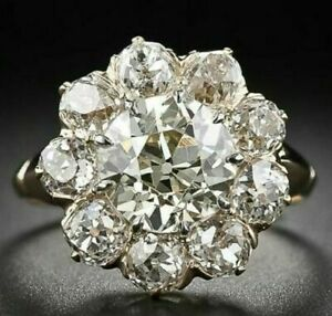 Simulated Old Mine Cut Diamond Vintage Antique Ring Solid 925 Sterling Silver