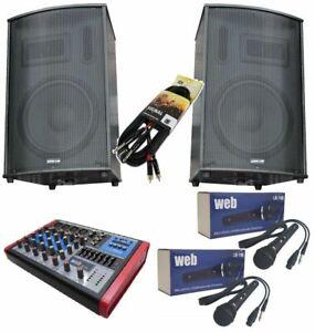 IMPIANTO AUDIO COMPLETO KARAOKE DJ 900W casse attive mixer microfoni cavi BLUET.