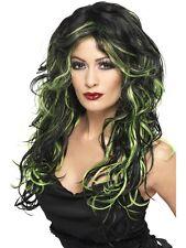 Gothic Parrucca Sposa Nero / Verde Halloween PARRUCCA STREGA VERDE 35827 Signore FANCY DRESS