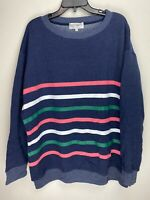 Wildfox Couture Womens Stripes Pullover Sweater Navy
