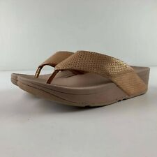 NEW Fitflop Swoop Shimmy Snake Women US 6 Nude Sandal Thong Toe Post Casual