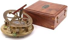 "Nautical Antique Replica Working 4"" Brass Sundial Compass- Gilbert & Sons London"