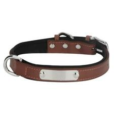 Soft Leather Pet Dog Collar Chain Stainless Steel Plate Name Engraved Collar UK
