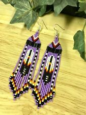 "Native American Style 4"" Purple Feather Beaded Earrings---ORIGINAL DESIGNER"