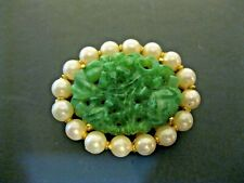Vintage Signed MARVELLA Gold Tone Faux Pearl & Turquoise Brooch