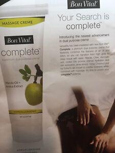 Brand New Bon Vital Complete Massage Creme- Unique Formula- 3Oz