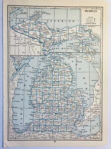 Michigan 1935 Antique Map J Thomas Co MI Lake Michigan Huron Superior