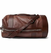 Brunello Cucinelli brown leather grain back pack duffel luggage Bag NEW