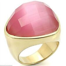 Pink Cat Eye Ring Gold Plated Bold Abstract Contemporary Style Retired Size 10