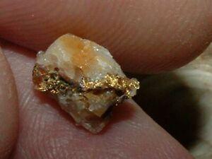 OXIDIZED GOLD QUARTZ SPECIMEN .58 GRAM NATURAL CALIFORNIA GOLD IN QUARTZ