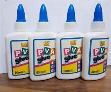 4x PVA Glue 60ml General Purpose Adhesive Paper Cardboard Wood Craft Home School