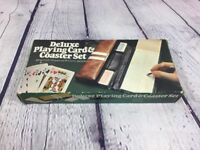 Vintage 1980 Playing Cards and Coaster Set w Carrying Case in Original Box