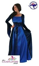 LADIES Medieval Costume Game of Thrones Blue Gown Renaissance Size 10-14