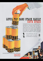 KEGLINED CANS 1940 VINTAGE AD REPRO A3 CANVAS GICLEE PRINT POSTER FRAMED