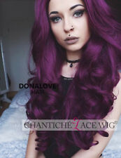 Long Wavy Cosplay Purple Wig Ombre Purple Synthetic Lace Front Wigs For Women 24