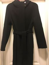 Theory Winsome Black Belted Wool/Cashmere Hooded Wrap Coat, Size M, NWT So Soft!