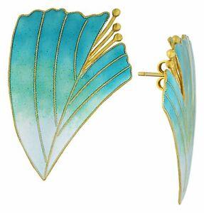Vintage Laurel Inc Turquoise Magnolia Gold-Vermeil Earrings : Museum of Jewelry