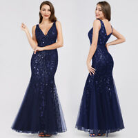 Ever-Pretty Formal Bodycon Dress Long V-Neck Fishtail Evening Prom Gown Navy