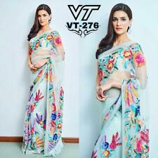Womens Bollywood Ethnic Blue Net Sari Multi Color Floral Work Party Wear Saree