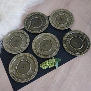 6 Fondue Teller Raclette Antipasti Grill Keramik grün 70er Vintage Landhaus