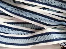 "5 yards Mesh 1.5"" Stripe Ribbon/trim/Woven band/sewing/Craft/Decoration R46-Blue"