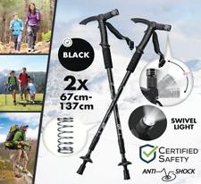 2x Trekking poles / Walking Stick w/ LED Light Telescopic Anti shock Compass
