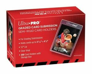 200 Ultra Pro Semi Rigid Card Holder Graded Card Submissions - Red Box