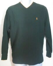 Polo Ralph Lauren Mens Green Yellow Thermal Style Shirt Size L Large j227