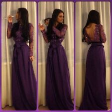 Dark Purple Long Sleeves  Prom Dresses Open Back Lace Beaded Evening Party Dress