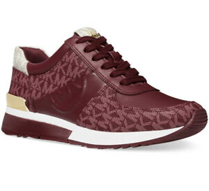 NIB Size 8 MICHAEL KORS Allie Trainer Logo Leather Sneaker Dark Berry Multi