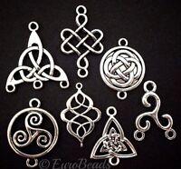 5PC Celtic Bead Lot/_Craft Slider Spacer Set Collection DIY Irish Knot Silver