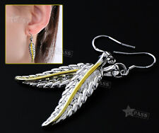 Pair Earrings Hook Drop 925 Sterling Antique Feather Dangle 38mm Height Silver