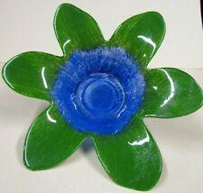 Blue Green Gorgeous Flower Glass New Vtg Candle Tea Light Holder w Stake Garden