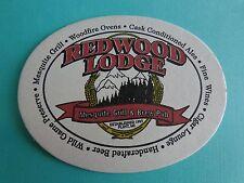 Beer Bar Coaster ~*~ REDWOOD LODGE Mesquite Grill & Brew Pub ~*~ Flint, MICHIGAN
