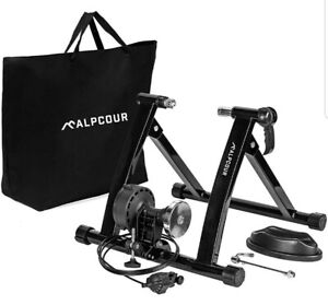 Bike Trainer Stand – Alpcour Portable Stainless Steel Indoor Trainer w/ Magne...