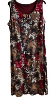 Marks and Spencer Floral Midi Dress Size 18 Red Grey Brown Pattern.