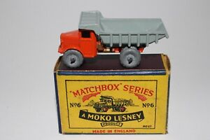 MATCHBOX LESNEY #6A QUARRY DUMP TRUCK, METAL WHEELS, EXCELLENT, BOXED TYPE B