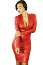 Plunging V Neck Long Sleeve Leather Style Dress Red Medium