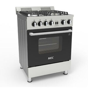 Mec 60cm MGG60 Freestanding 4 Burner Gas Hob w/ 76L Oven/Gril/Tray Silver