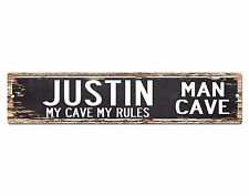 SPMC0056 JUSTIN MAN CAVE Rules Street Chic Sign Home man cave Decor Gift