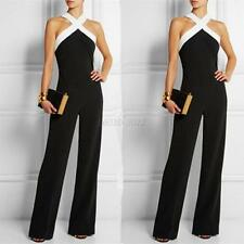 Women Clubwear Halter Party Jumpsuit&romper Sleeveless Playsuit Bodycon Trousers L