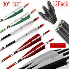 12Pcs 30/32 Carbon Arrows SP500 Turkey Feather Archery For Compound&Recurve Bow
