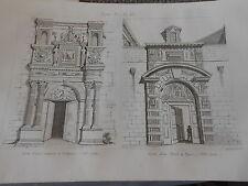 Gravure 1841 - Porte d'une Maison à Toulouse et Porte d'un Hotel à Dijon