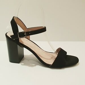Size 8 TARGET Black Suede Block Heels Open Squared Toe Ankle Strap Buckle