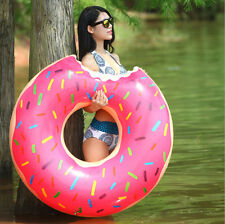 Giant Strawberry Inflatable Donut Swimming Pool Tube Beach Float Swim Ring Toy