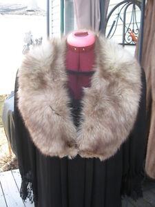 "#036 men women FOX FUR COLLAR WARPS scarf  WHITE BROWN 37 ""in long"