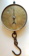 "SALTER Brass Dial Iron Hanging Scale 200 Lb Antique Original 19"" nice old heavy"
