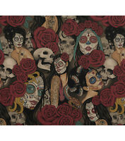"Alexander Henry Nocturna Halloween Cotton Fabric Sugar Skulls 18X44"" Japan made"