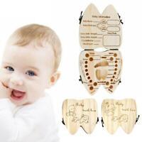 Wooden Kids Baby Tooth Box Organizer Milk Teeth Wood Storage Box for Boy Girl LZ